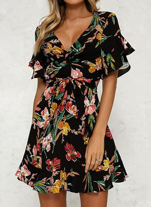 Casual Floral Skater V-Neckline X-line Dress (100037791)