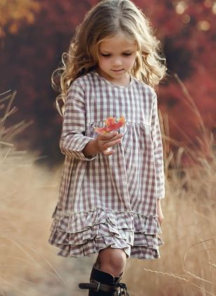 Girls' Cute Plaid Going Out Long Sleeve Dresses