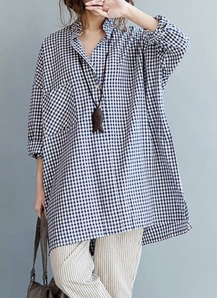 Tartan Cotton Collar Long Sleeve Blouses