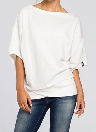Solid Casual Round Neckline Half Sleeve Blouses (146840370)