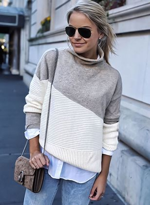 High Neckline Color Block Loose Regular Sweaters