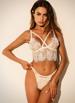 Polyester Plain Lace Lingerie Sets