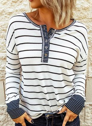Stripe V-Neckline Long Sleeve Casual T-shirts (111853024)