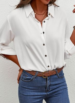 Solid Casual V-Neckline Long Sleeve Blouses (5501837)