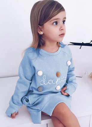 Girls' Casual Alphabet Daily Long Sleeve Dresses