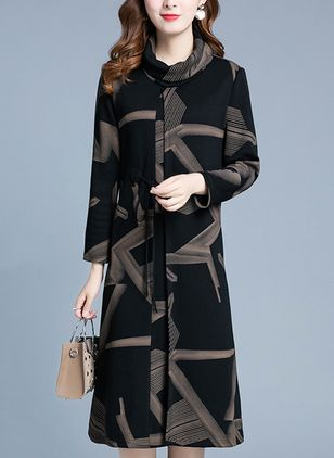 Geometric Long Sleeve Knee-Length A-line Dress
