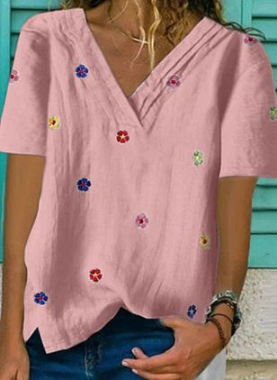 Floral V-Neckline Short Sleeve Casual T-shirts (4037729)