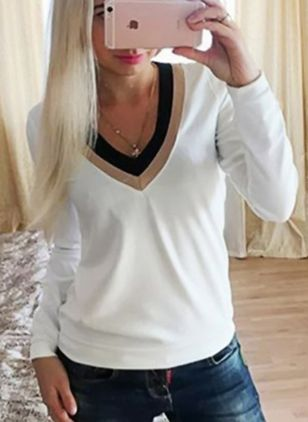Cotton Color Block V-Neckline Long Sleeve T-shirts