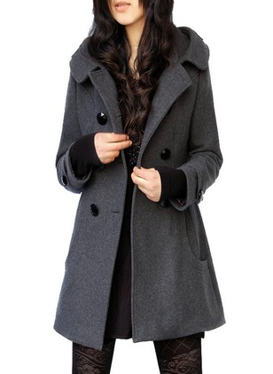 Wool & Wool Blend Long Sleeve Hooded Buttons Pockets Trench Coats