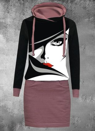 Casual Character Sweatershirt Draped Neckline Sheath Dress (122030492)