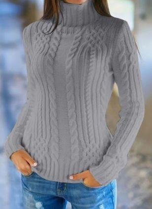 High Neckline Solid Tight Regular Sweaters