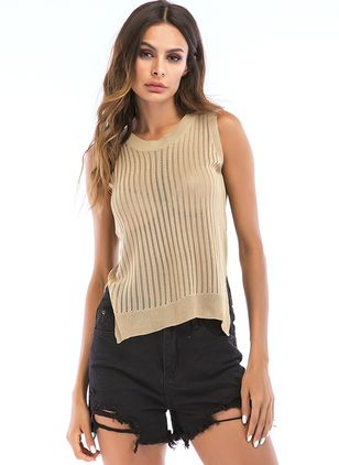 Solid Round Neck Sleeveless Casual T-shirts