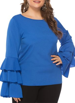 Plus Size Solid Elegant Round Neckline Long Sleeve Blouses
