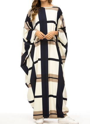 Tunic Plaid Round Neckline Casual Maxi Plus Dress (1543439)