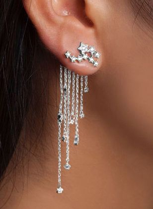 Casual Star Tassel Crystal Dangle Earrings (4039241)
