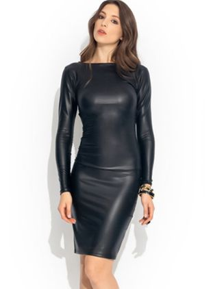 Solid Zipper Pencil Knee-Length Sheath Dress