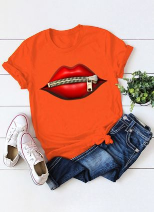 Color Block Round Neck Short Sleeve Casual T-shirts (4663252)