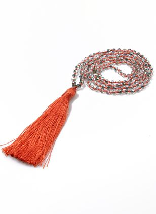 Casual Tassel Ball Gemstone Pendant Necklaces (4048202)