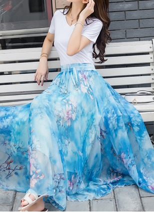 Polyester Color Block Maxi Casual Ruffles Skirts