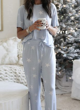Round Neckline Color Block Sashes Pajamas (5999768)