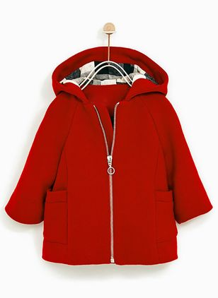 Girls' Casual Solid Hooded Coats