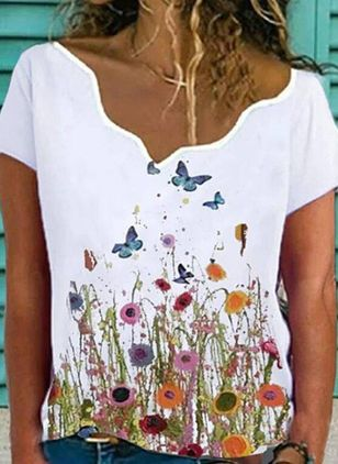 Floral V-Neckline Short Sleeve Casual T-shirts (146958034)