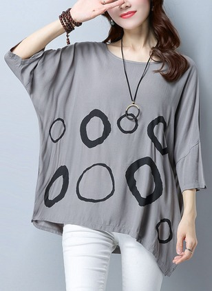 Cotton Alphabet Round Neck 3/4 Sleeves Casual T-shirts
