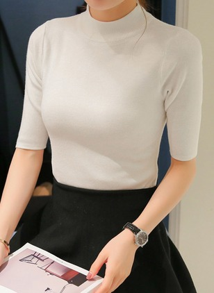 Cotton Round Neckline Solid Tight None Sweaters