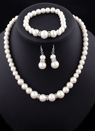 Ball Round Pearls Necklace Earring Bracelet Jewelry Sets
