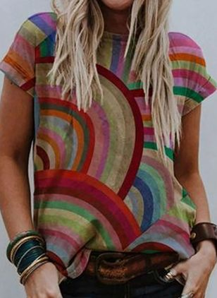 Color Block Round Neck Short Sleeve Casual T-shirts (106821701)