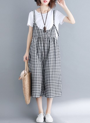 Cotton Check Sleeveless Backless Jumpsuits & Rompers