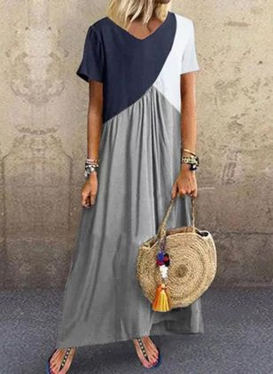 Color Block Tunic Round Neckline Maxi Shift Dress