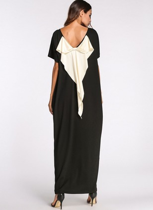 Color Block Ruffles Boat Neckline Maxi Shift Dress
