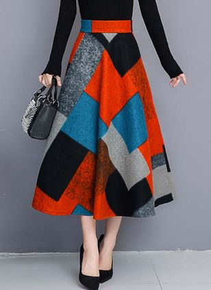 Color Block Midi Casual Rokken