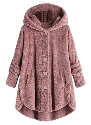 Long Sleeve Hooded Buttons Coats (1264965)