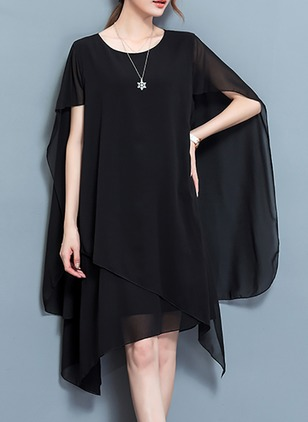 Solid Short Sleeve Knee-Length Shift Dress