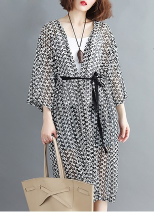 Chiffon 3/4 Sleeves Collarless Sashes Coats