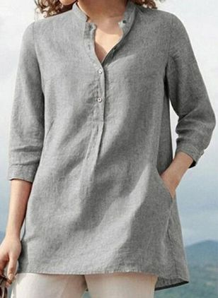 Solid Casual V-Neckline 3/4 Sleeves Blouses (147193204)