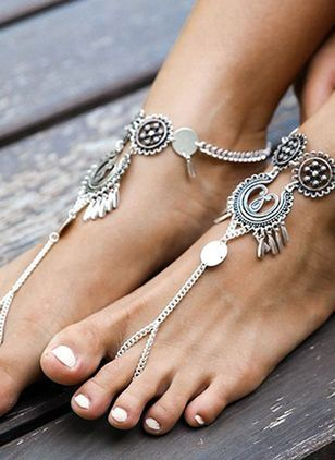 Casual No Stone Floral Anklet (5501658)