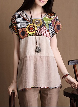 Color Block Casual Linen Round Neckline Short Sleeve Blouses