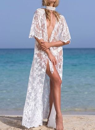 Lace Floral Cover-Ups Swimwear (147104686)