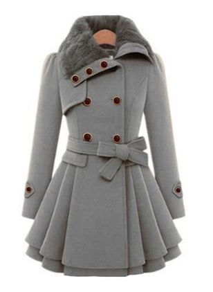 Long Sleeve Collar Sashes Buttons Coats (107519978)