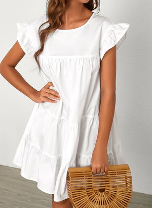Casual Solid Tunic Round Neckline Shift Dress (4073784)