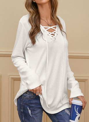 V-Neckline Solid Casual Loose Regular A-line Sweaters (100772381)