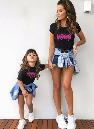 Mommy and Me Alphabet Casual Short Sleeve Family Outfits (1531154)