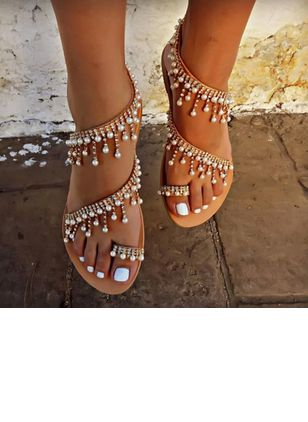 Women's Pearl Tassel Toe Ring Flat Heel Sandals