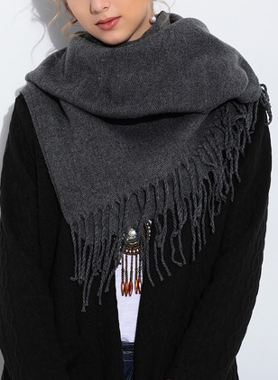 Casual Cotton Blends Solid Scarves