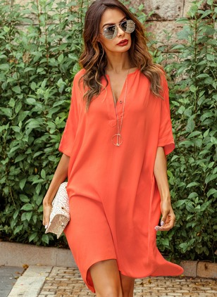 Solid V-Neckline Half Sleeve Shift Dress
