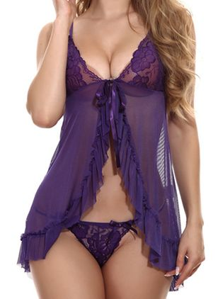 Plain Lace Ruffles Teddies (4458209)