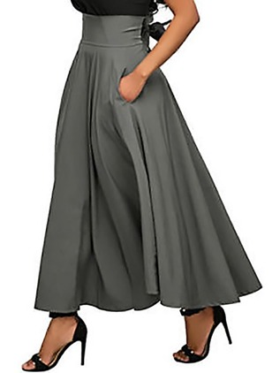 Cotton Blends Solid Maxi Pockets Skirts